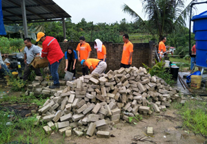 Construction of an outdoor lavatory for the Community