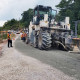 Cement stabilised pavement being laid at KM8.3 of the Miri-Marudi Road